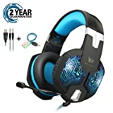 Gaming Headset with RGB LED Light for PS4 Xbox One Cell Phone Mac Nintendo Switch PC,Stereo Sound with Soft Memory Earmuffs and NOISE CANCELLING, Over Ear Headphones with Mic and Volume Control (Color: G1000-Blue)