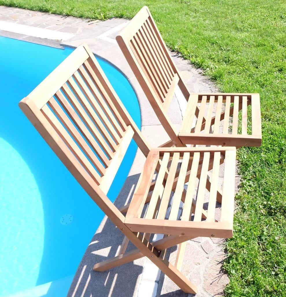 2Stück elegante TEAK Design Gartensessel Gartenstuhl Sessel Holzsessel Gartenmöbel Holz 'COAMO' geölt von AS-S