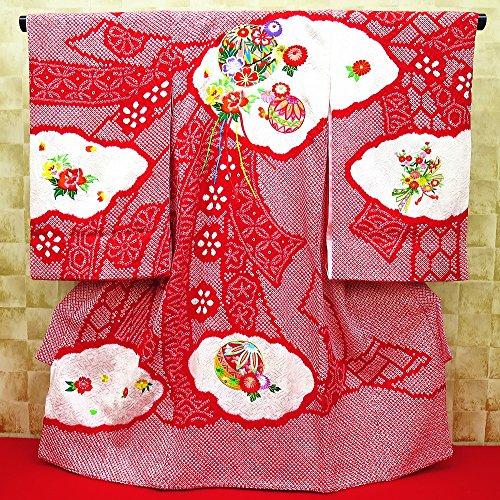 【総絞り束ね熨斗に毬と華刺繍】 女児 初着 祝着 のしめ 産着 女の子のお宮参り着物 高級 フードセットプレゼント付