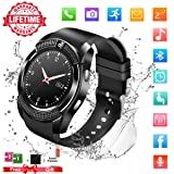 Smart Watch,Bluetooth Smartwatch Touch Screen Wrist Watch with Camera/SIM Card Slot,Waterproof Phone Smart Watch Sports Fitness Tracker for Android iPhone iOS Phones Samsung Huawei for Kids Women Men (Color: Black)