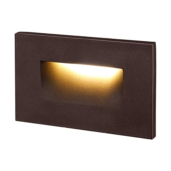 LEONLITE 120V Dimmable LED Step Light, 3.5W 3000K Warm White, 110lm High CRI 90, ETL Listed Indoor Outdoor Stair Light, Aluminum Waterproof Staircase Light, 5-Year Warranty, Oil Rubbed Bronze (Color: Horizontal Mount, Tamaño: 1 Pack)