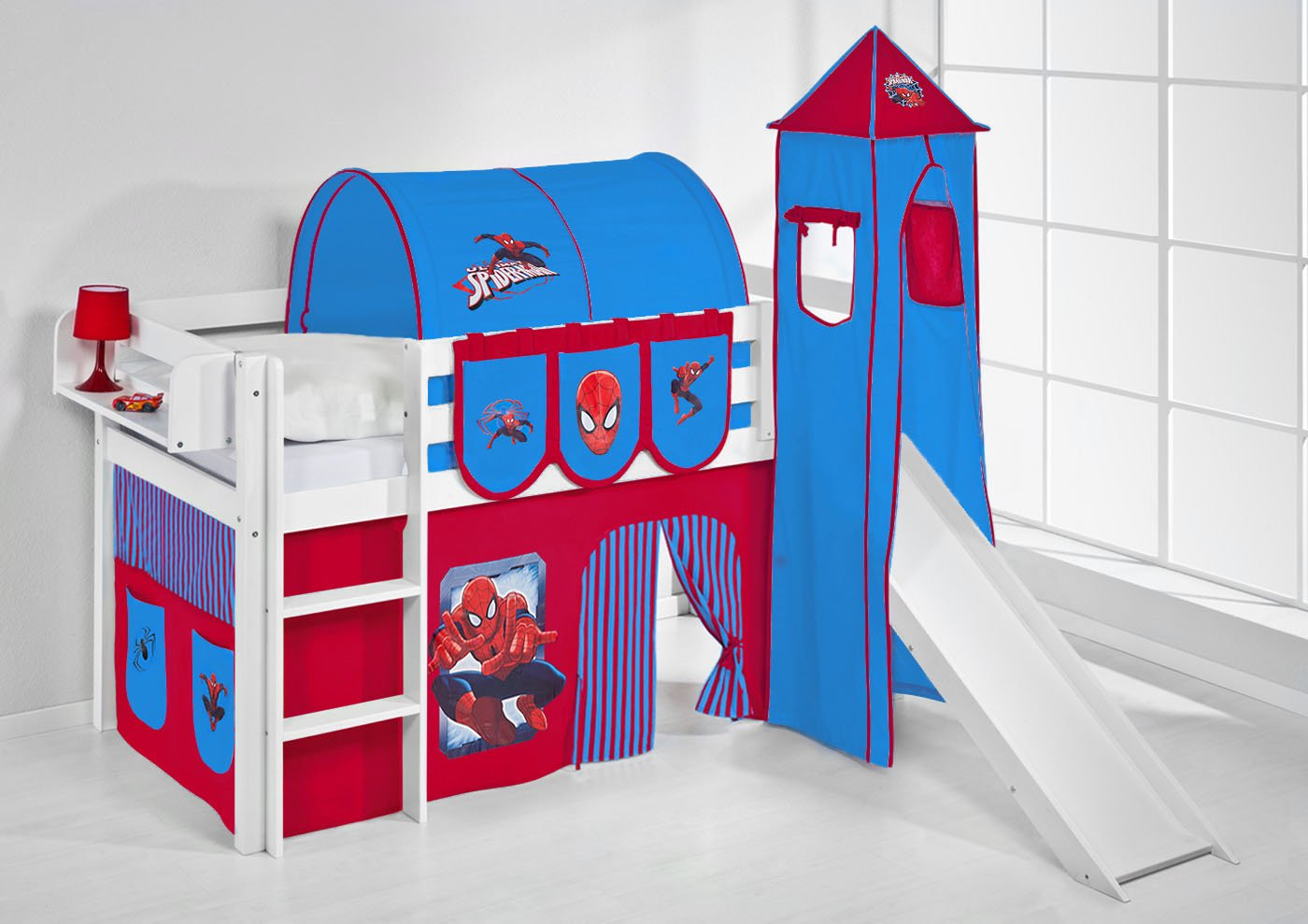 Spielbett JELLE Spiderman Lilokids The Explorer Hochbett LILOKIDS mit Turm in Weiß Rutsche und Vorhang rot-blau kiefer online bestellen