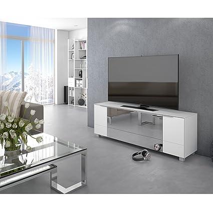 Brandneues Modell!! Lowboard MAJA TV-Board Weißglas matt / Grauspiegel 180x60x42cm verfugbar ab KW 07/2017