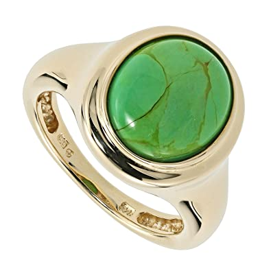 Sogni D 'oro Classic Solitaire Womens Engagement Wedding Ring Green Turquoise (Treated) Real Gold 9 Carat Yellow Gold 375