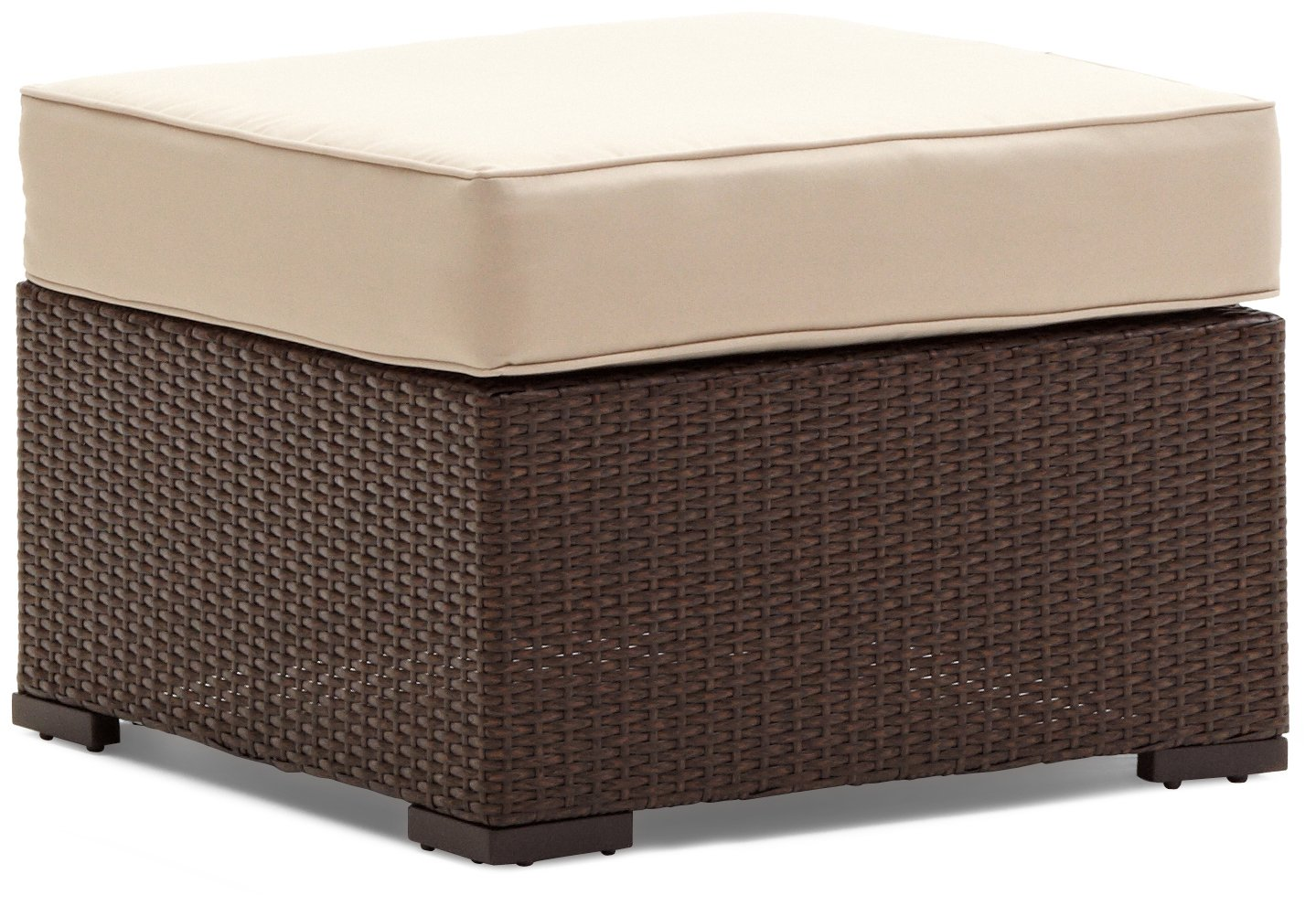 all weather ottoman woven resin wicker w beige cushion aluminum frame brown ebay