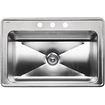 "33"" Drop-in Large Single Bowl Stainless Steel Sink 10"""
