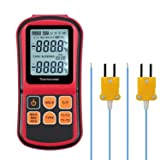 Kamtop Digital Thermometer Dual Channel Thermometer with Two K- type Thermocouples Temperature Meter with LCD Backlight for K/ J/ T/ E/ R/ S/ N Thermo