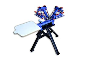 TECHTONGDA Micro-Registration 4 Color 1 Station Screen Printing Machine T-Shirt Printing Press with Stand (Color: Blue, Tamaño: Micro-registration)