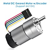 6V, 20rpm, 46kg.cm/12V, 40rpm, 80kg.cm, Metal DC Geared Motor w/Encoder. for Projects Such as Robot, Custom Servo, Arduino and 3D Printers.