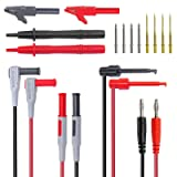 Amadget Electronic Test Leads Kit with Test Extension, Professional Multimeter Leads Volt Meter Clamp Meter Leads with Alligator Clips Replaceable Multimeter Probes Tips Set of 16