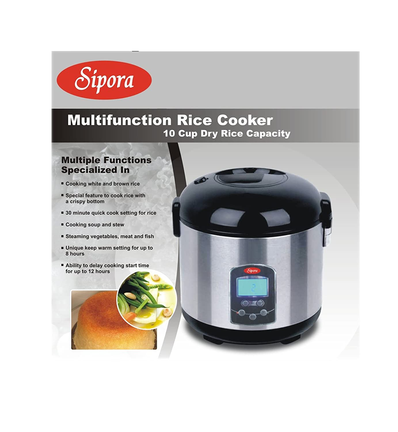 Sipora 158-105 10 Cup Multi-Function Programable Rice Cooker, Stainless Steel