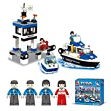Lightahead DIY Building Blocks Set Toy Police Station,Boats mini Figures Construction Kit Toy Set Kids (206 PCS)