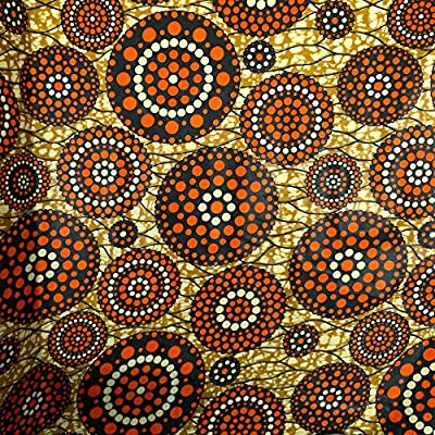African Print Fabric Cotton Print Cosmo 44'' wide By The Yard Brown Orange White