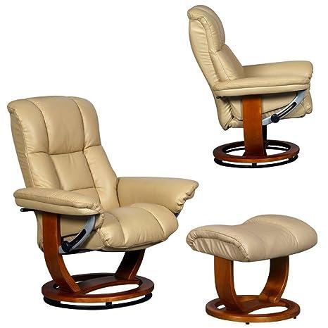El Windsor Grande - piel auténtica sillón reclinable y giratorio con reposapiés