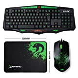 LexonElec Keyboard Mouse Sets Combo Gamer AK93 Wired Green LED Backlit Illuminated 114 Keys Anti-ghosting Usb Ergonomic Pro Gaming Keypad + 1600DPI 6 Buttons Optical Mouse + Mice Pad for Laptop PC (Color: Black)