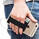 Sinjimoru Phone Grip with Card Holder for Phone, Stick on Phone Wallet with Phone Finger Gripper Storing Credit Cards. Strap Pocket for Cell Phone. Si