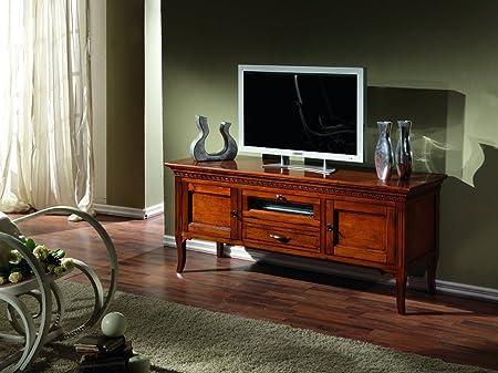 Porta tv basso in legno massello a 2 ante e 2 cassetti