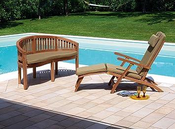 Banc de jardin en bois de teck avec coussin vert cendré amovible - Dim : H 86 x L 150 x P 62 cm -PEGANE-