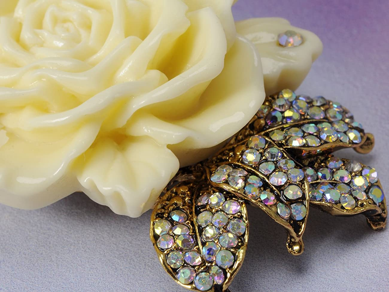 Vintage Inspired Tone Elegant Cream White Resin Enamel Rose Crystal Rhinestone Fashion Jewelry 3