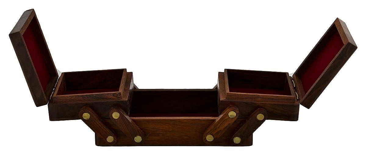 SAAGA Multipurpose Wooden Folding Jewelry Box Elephant Design Brass Inlay / Handmade : 8x4x3.5 inches (LxBxH)
