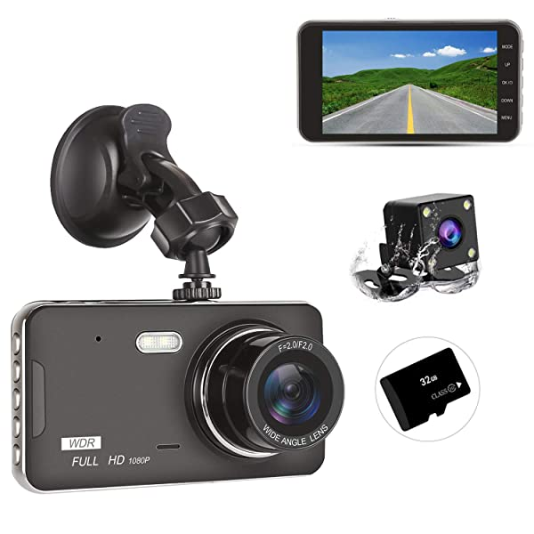 Dash Cam Front and Rear Include 32GB SD Card 170/° Wide Angle Dashboard Camera Motion Detection Parking Monitor G-Sensor 1080P Dash Camera for Cars 3 Inch LCD Screen Dual Dash Cam with Night Vision