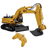 Fistone RC Excavator 11CH 2.4G Alloy Bulldozer Crawler Truck Wireless Backhoe Digger Games Toy Electronic Remote Controlled Vehicle Demo with Lights and Sound Engineering Machinery Car Model