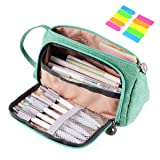Pencil Case, Yloves Big Capacity Pen Pencil Bag Pouch Box Organizer Holder for School Office Supplies with 2 PCS Index Tabs (Green) (Color: Green)