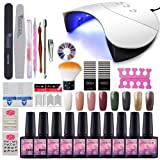 Fashion Zone 8 Colors Gel Nail Polish Starter Kit with 36W LED UV Lamp, Manicure Tools and Nail Salon Art Design (Color: 8 Colors)