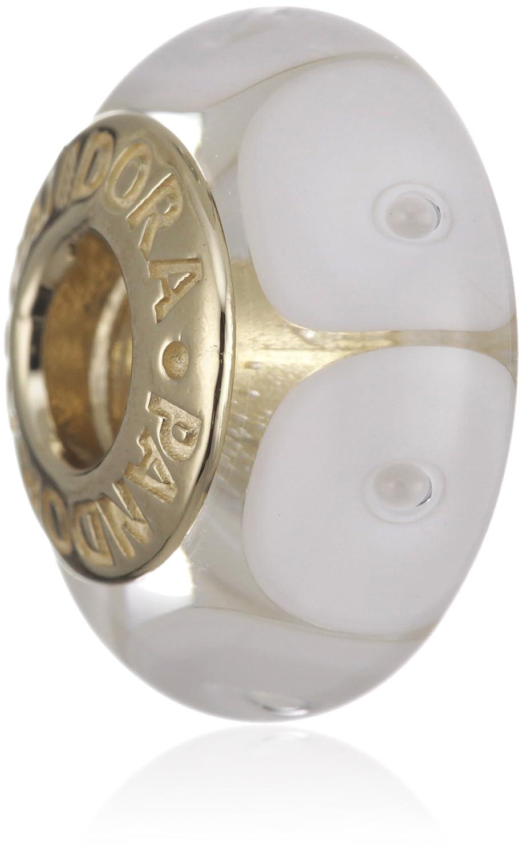 Pandora Damen-Bead  14 Karat (585) Gelbgold Muranoglaskugel weiß KASI 750406 schenken