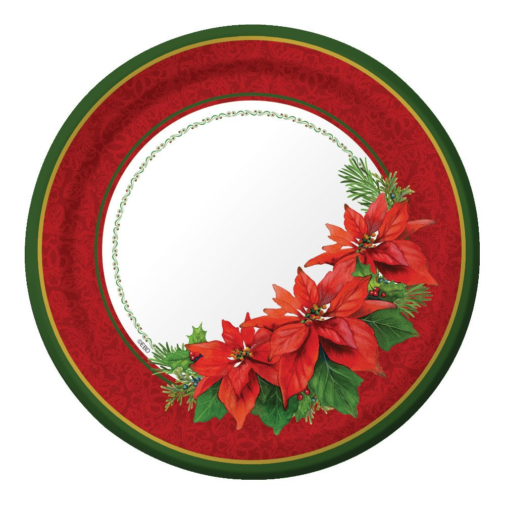 Elegant Christmas Paper Plates and Napkins for 50 Guests in Gold Foil and Red Includes 50 9