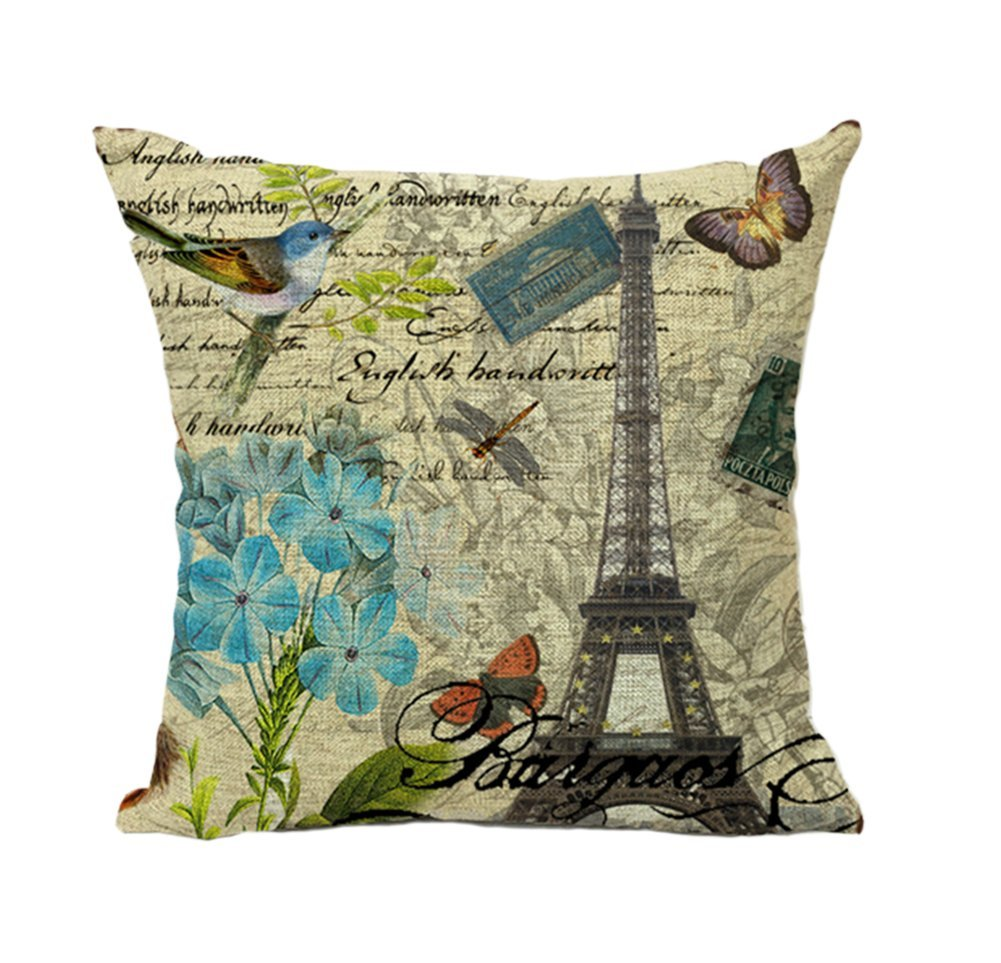 Bird Flower Paris Eiffel Tower Vintage Home Decor Throw Pillow Case Cushion Cover 18 x 18 Inch Cotton Linen(#4) 0