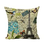 Bird Flower Paris Eiffel Tower Vintage Home Decor Throw Pillow Case Cushion Cover 18 x 18 Inch Cotton Linen(#4)