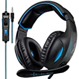 SADES SA816 Stereo Gaming Headset for Xbox One PC PS4 Over-Ear Headphones with Noise Canceling Mic Soft Ear Cushion 3.5mm Jack Plug Cable for Mac Laptop Tablet Smartphone (Color: SA816Blue)