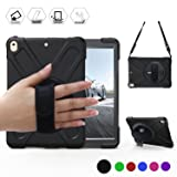 BRAECN iPad Pro 10.5 Case with 360 Degree Swivel Stand/Hand Strap and Shoulder Strap Case[Heavy Duty]Three Layer Ultra Hybrid Shockproof Full-Body Protective Case(No iPad 9.7 inch 2017) (Black) (Color: Black)