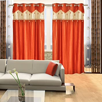 Red Curtains amazon red curtains : Home Candy Designer Orange Set of 2 Door Curtains- 7 ft: Amazon.in ...
