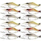 Goture Soft Lures Shrimp Bait Set, Freshwater/Saltwater, Trout Bass Salmon, 12 Piece (Color: 3.54in/0.21oz 12Piece)
