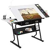 Tangkula Adjustable Drafting Table Art & Craft Drawing Desk Folding with Drawers