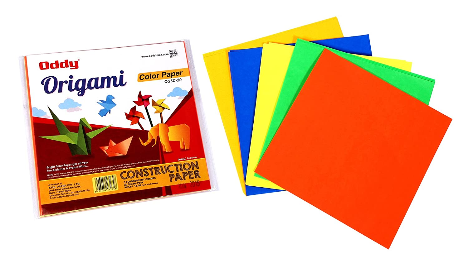 origami sheets single side fluorescent 6 x 6 4 sheets x 5 color 20 sheets set of 10 amazonin office products - Color Papers