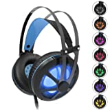 Gintenco Gaming Headset for Xbox One PS4 Noise Cancelling Ear Headphone with Volume Control Hidden Mic Color Change LED Lights for PC Laptop Mac Compu