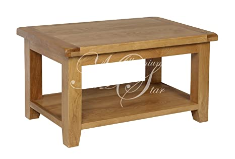 SOLID CHUNKY WOOD RUSTIC OAK SMALL COFFEE TABLE WITH SHELF