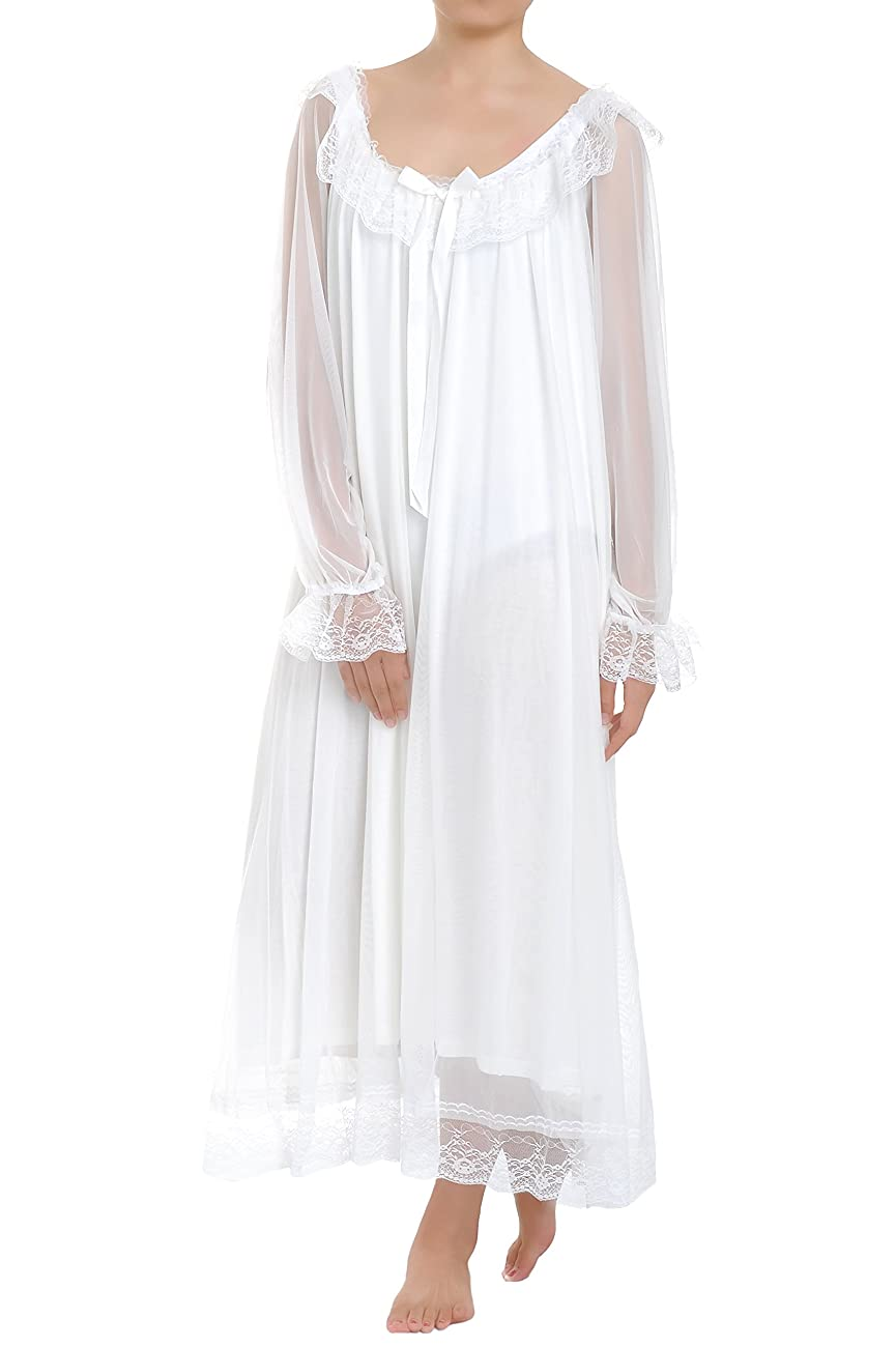 Latuza Women's Long Sheer Vintage Victorian Nightgown with Sleeves 0