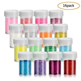 Fine Slime Glitter, 18.5g Glitter Powder Each Shaker Jar, Great Glitter Powders for Slime, Craft, Nail Polish, Paints, Assorted Colors, Variety Set of 16