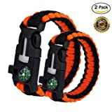 WePower 2PCS Survival Bracelet, Outdoor Survival Paracord Bracelet Kit with Compass, Whistle, Knife, Flint Fire Starter for Camping Hiking Fishing Run