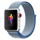 INTENY Sport Band Compatible with Apple Watch 44mm, Soft Lightweight Breathable Nylon Sport Loop, Strap Replacement for iWatch Series 4 (Tahoe Blue, 44mm) (Color: Tahoe Blue, Tamaño: 44 mm)