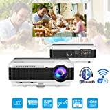 Bluetooth Projector Wireless LED 3900 Lumen Android Bluetooth Proyector Smart Wifi HD WXGA Home Theatre Projectors Airplay Miracast LCD 1080P Android Projector with Bluetooth HDMI USB VGA AV Audio Out (Color: WXGA Wifi&Bluetooth Projector,3900lumen)