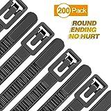 Reusable Zip Ties Heavy Duty Round Ending No Hurt 6+8+10+12 Inch 200 Packs Assorted Size Tie Wraps Ultra Strong Durable Black Cable Ties Indoor Outdoor Multi-Purpose No Slip Off (200, Black) (Color: Black, Tamaño: 6,8,10,12 inch)