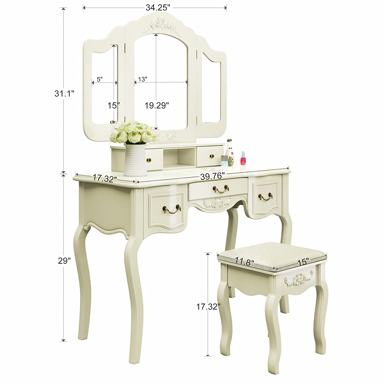 Tribesigns French Vintage Ivory White Vanity Dressing Table Set Makeup Desk with Stool & Mirror Bedroom 6