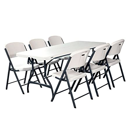 Combo-1 Banquet 6' Commercial Table and 6 Folding Chairs, White Granite, events, catering, party, birthday