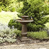 Two-Tier Garden LED Lights Fountain Bronze Finish 30 Inch Tall