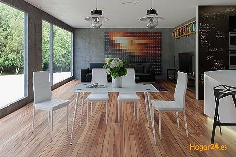 Hogar24-Conjunto Mesa ABA Blanco + 4 Sillas Color Blanco